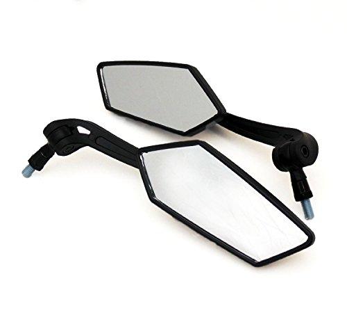 dlll Universal Passform Verstellbarer Spiegel-Set-10mm rechts/rechts Gewinde-flach schwarz-Motorrad Scooter -