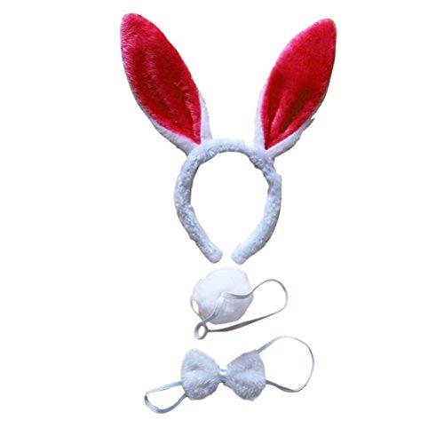 LUOEM Bunny Kostüm-Set mit Haarreif Fliege Schwanz für Kinder Erwachsene Party Cosplay Weihnachten Kostüm 3 Stücke (Weiß Rot)