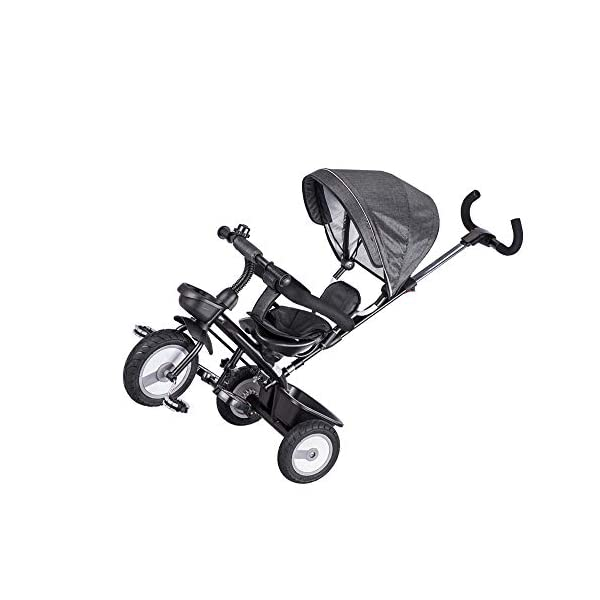 LRHD Children's Tricycle, 4-in-1 Baby Tricycle Cart, Suitable for 10 Months to 6 Years Old Walker, with Adjustable Push Handle, Detachable Ceiling, Retractable Pedal, Lockable Pedal LRHD 1. 4-in-1 tricycle: easy to switch between the four modes and easy to disassemble and install all components. This tricycle can grow up with a child aged 10 months to 5 years old, which is a rewarding investment for your child's childhood. Our four-in-one tricycle will be one of your children's fond memories of childhood. 2. Convenient for parents: when children cannot ride independently, parents can easily use the push handle to control the steering and speed of the tricycle. The height of the push handle can be adjusted to meet the different needs of parents. The push handle is also detachable, allowing children to enjoy free rides. 3. Ensure safety: Considering the safety of children when using, we have made many detailed safety designs. There is a detachable sponge guardrail on the seat, which can also be opened to let children get on the bus. The additional vertical safety belt can not only prevent the child from falling down, but also cover the button to avoid injury to the child. 4