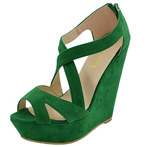 Oasap Exclusive Solid Strappy Platform Peep Toe Wedge High Heels Green