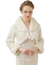 Yzibei Nobile Inverno Caldo da Donna Scialle da Sposa da Sposa Manica Lunga  Pizzo Cappotto Sciarpe Stole Poncho con Pompon per Abito da… cd2f06d622b3
