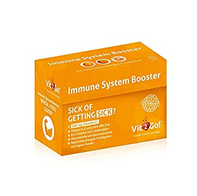 Vit2Go! Immune System Booster / Immunity System Supplements (Pack of 10) / Immunace Booster Powder / Support with highly dosed Vitamins and Minerals / with natural Ginger and Orange Extract by Vital Products GmbH