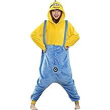 Babyonlinedress Pijama de adulto de una pieza con diseño de anime Monions sudadera de disfraz de cartoon holgado y cómodo con capucha y bolsillos