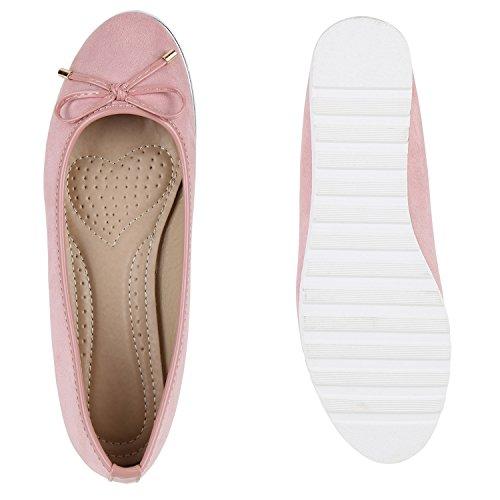 Damen Slipper Loafers Lack Metallic Schuhe Flats Profilsohle Rosa Velours