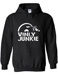 Vinyl Junkie Music DJ Novelty White Femme Homme Men Women Unisex Sweat à Capuche Hooded Sweatshirt Hoodie