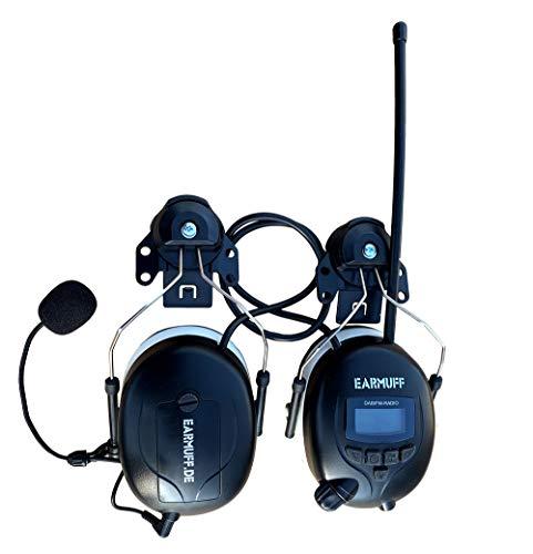 DAB+ Digital Radio Gehörschutz Bluetooth Kopfhörer mit 30mm EUROSLOT Montage für 3M & Stihl Helm