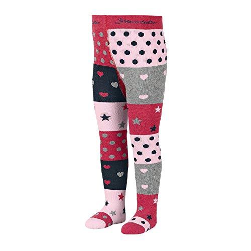 Sterntaler Strumpfhose mit Sternen und Herzen für Mädchen, Alter: 5-6 Monate, Größe: 74, Rot (Beerenrot Melange)