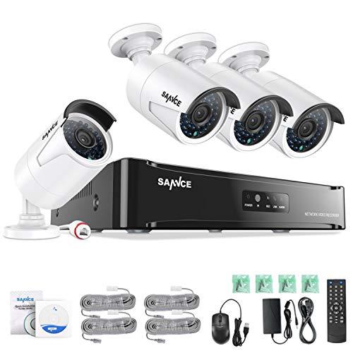 SANNCE POE Überwachungskamera Set, 1080P 4CH POE NVR + 4 * 1080P Überwachungskamera ohne Überwachungsfestplatte,Fernzugriff,Bewegungserkennung,Nachtsicht bis zu 30 Meter
