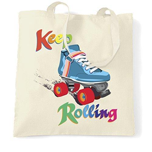Valentine Herty Einkaufstasche für Mädchen, mit Rollschuhen, Vintage, Retro-Blocker, Skaten, Skater in Regenbogenfarben