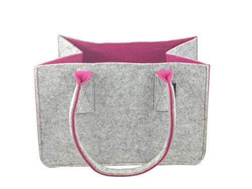 Shopping Bag aus Filz, große Einkaufs-Tasche mit Henkel, faltbare Kaminholztasche zur Aufbewahrung von Holz, vielseitige Tragetasche auch zur Spielzeug Aufbewahrung, Farbe grau/magenta