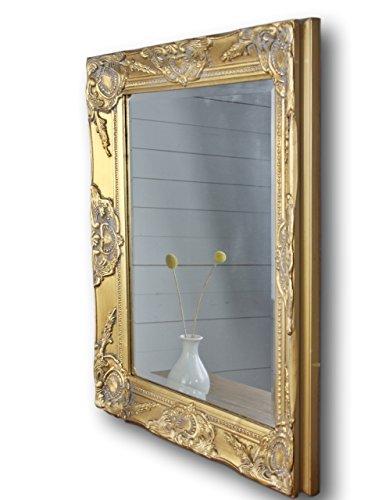 elbmöbel Wandspiegel in weiß antik mit leichter Patina 62 x 52cm mit Holz-Rahmen Landhaus-Stil (62...