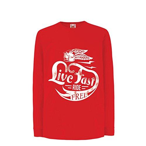 Kinder-T-Shirt mit Langen Ärmeln Live Fast Die Free - Klassische Bikers Kleidung, Motorradausrüstung, Motorrad Sprüche (14-15 Years Rot Mehrfarben)
