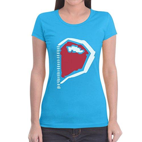 Paarmotiv Herz mit Reißverschluss Süß für Valentinstag Frauen T-Shirt Hellblau