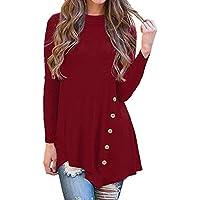 Luckycat Moda Casual de Las Mujeres de Manga Larga botón Flojo Trim Blusa de Color sólido de Cuello Redondo Manga túnica Camiseta