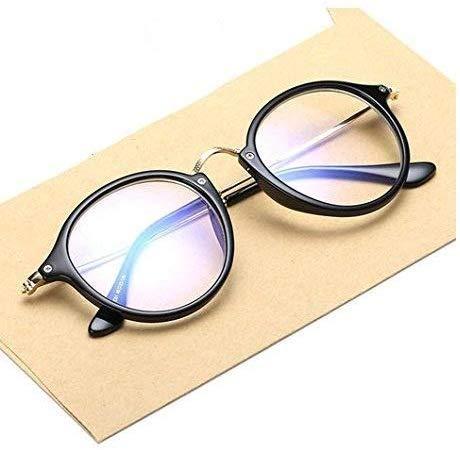 Mr. Brand Present Full Rim Golden Black Round Unisex Spectacle Frame | Transparent Nightwear Eyeglasses for Men and Women