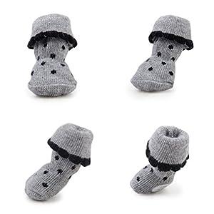 WINOMO 4pcs chien anti-dérapant coton chaussettes avec imprimés en caoutchouc Paw pour chien chat - Taille M (Gris)