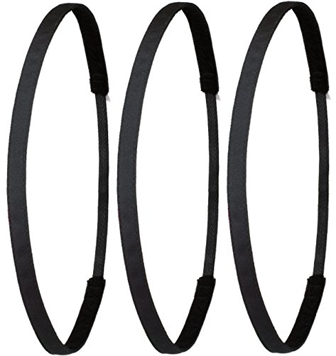 Ivybands Das Anti-Rutsch Haarband - Gentlemens Edition - 3er Pack Schwarz Super Thin Haarband (1 cm Breite) 3X IVY003