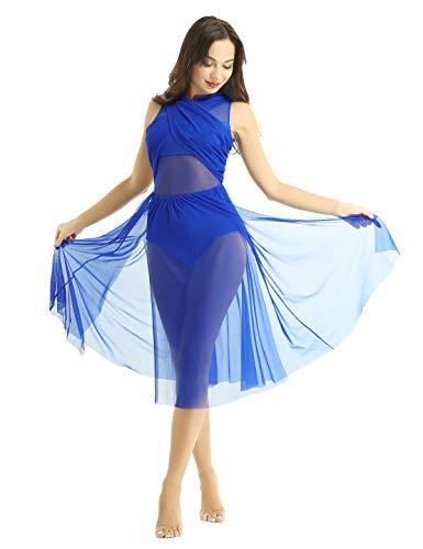 Iixpin vestito danza classica donna balletto tutu lungo ballerina schiena scoperta senza maniche abito da ballo latino rumba samba tango dancewear leotards blu reale medium