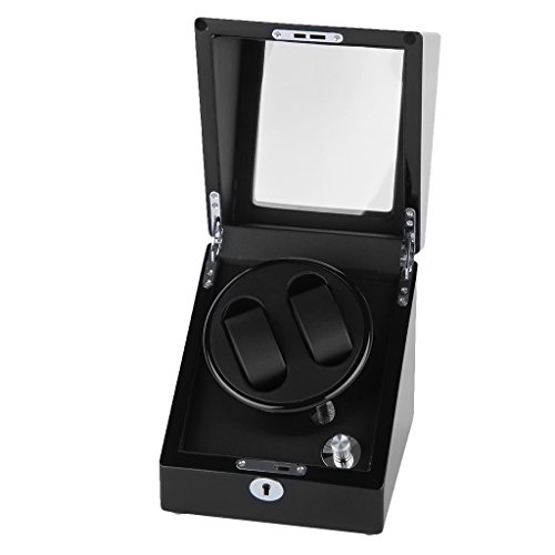 Excelvan Rectangle Mute Automatic Double Watch Winder with Lock Dual Watch Rotator Watch Storage Box Black