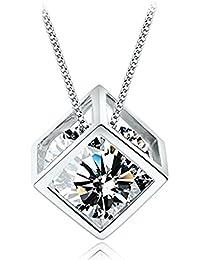 NEOGLORY Collar Plata de ley con AAA Circonita Blanca 40-45cm Joya Reglo Mujer