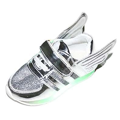 Gaorui Winter Kinder Jungen Mädchen High Top LED Light Glow Sneakers Fluorescence Sportsschuhe mit Flügel ohne USB