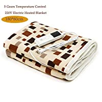 Ameginer 220V Electric Blanket Thicker Heater Warmer 180 * 80cm Heated Blanket 5 Gearbox Thermostat Timing Function Electric Heating Carpet