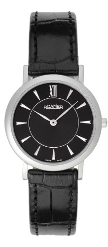 Ladies/Women's Stainless Steel Roamer Quartz/Battery Watch on Black Leather Strap with Sapphire Glass. BL52.14ROX