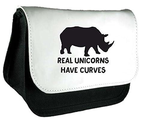 véritable Licornes ont courbes Corps image Positive Rhino Funny Animal Thème d'embrayage sac ou Trousse à crayons taille unique noir