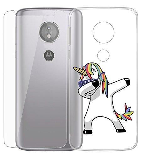 ZXLZKQ Hülle für Motorola Moto E5 Plus Schutzhülle Coole Pferd Transparent Schutzhülle Weich TPU + Gehärtetes Glas Schutzfolie Silikon Case Schale Stoßkasten Bumper Tasche