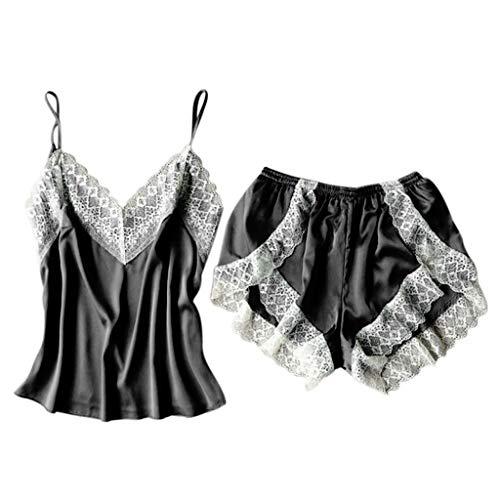 Mode Sexy V-Ausschnitt Spitze Nachtwäsche Dessous Versuchung Babydoll Unterwäsche Nachthemd Plus Größe (Schwarz, XL) -