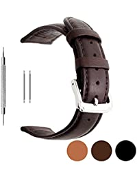 Berfine Calf Leather Watch Band Replacement,Extra Soft Watch Strap for Men Women Black Brown 18mm 20mm 22mm