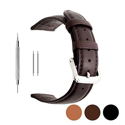 berfine Kalb Leder Armbanduhr Band Ersatz, extra weich Uhrenarmband für Herren Frauen, dunkelbraun