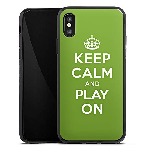 Apple iPhone X Silikon Hülle Case Schutzhülle Keep Calm Games Konsole Silikon Case schwarz
