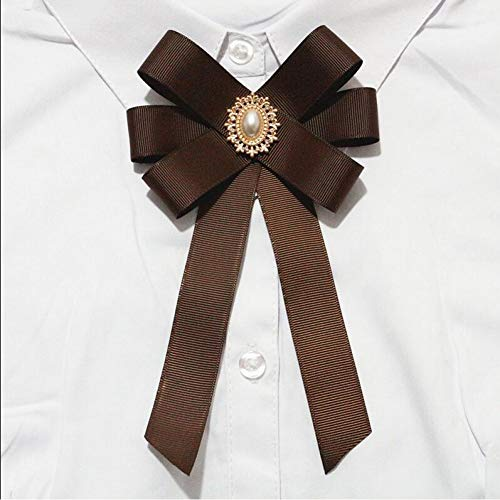 HYLIWI Brosche 16 Colors Pearls Button Center Vintage Retro Brooches Ribbon Bow Collar Pins Corsage Shirt Tie Cravat Wedding Bowknot Brooch (Clip Vogel Tie)