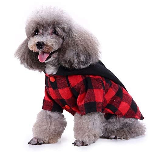 NYJ Weihnachten Hundebekleidung, Geschenk Katze Hund Plaid Kostüm Woolen Jacke Overall Puppy Kleidung (größe : XL)