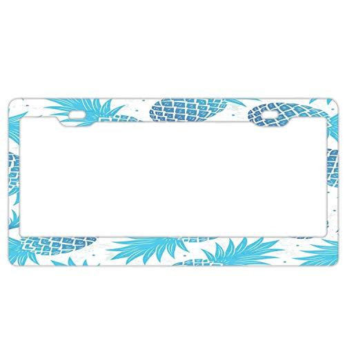 huizehonghong schwarz Nummernschildrahmen Halter Universal Rahmen Halterung Kennzeichenschild Abdeckung für US Auto, Blue Pineapple -