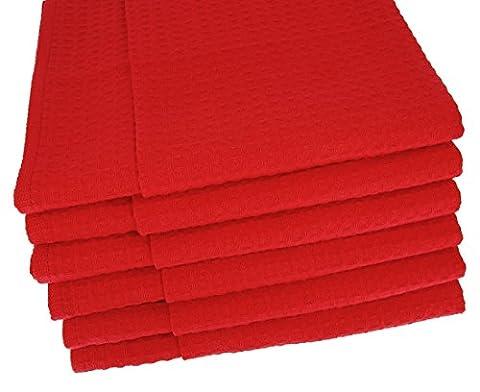 6x Geschirrtücher / Tücher aus 100% Baumwolle Waffel-Piqué in Rot