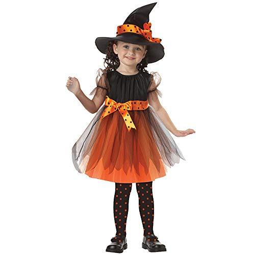 Déguisement Sorcière Enfant Fille Halloween Costume Robe Princesse + Chapeau de Sorcière (2-15 Ans)