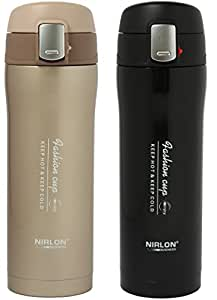 Nirlon Stainless Steel Flask Set, Set of 2, Black/Brown