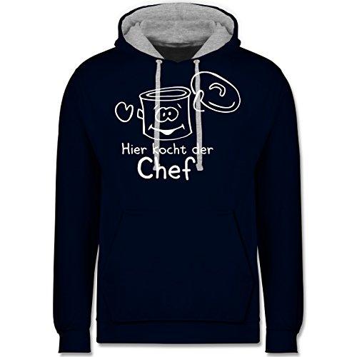 Küche - Hier kocht der Chef - Kontrast Hoodie Dunkelblau/Grau meliert