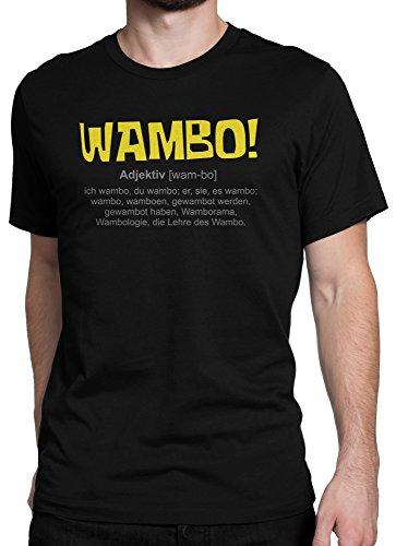 WAMBO! Patrick und SpongeBob Schwammkopf Fanartikel / Premium Fun Motiv T-Shirt XS-5XL mit Aufdruck / Ideales Geschenk, Color:Schwarz, (Und Patrick Spongebob)