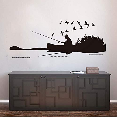 Mann Angeln am Fluss und eine Gruppe von Vögeln Wandaufkleber Landschaft Vinyl abnehmbare DIY Home Decor für Wohnzimmer Dekoration 109x43 cm