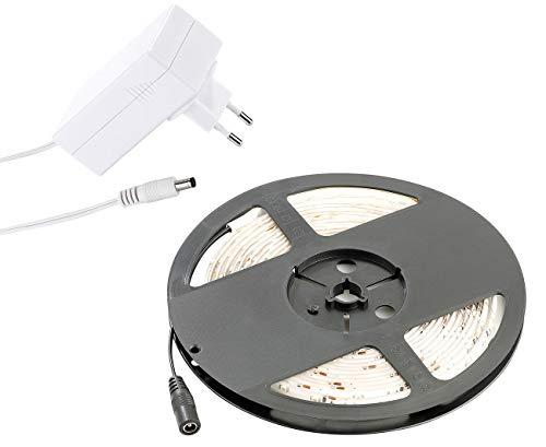 Lunartec LED Band Netzteil: LED-Streifen LE-500MN, 5 m, warmweiß, Innenbereich & Netzteil (LED Streifen selbstklebend)