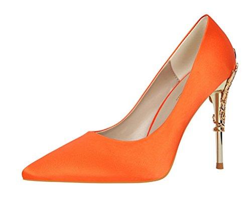 Easemax Damen Elegant Spitze Zehe Slip on Geschlossen High Heels Pumps mit Blume Verzierung Orange 38 EU -