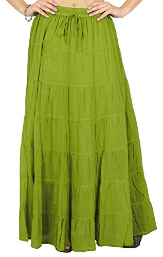 Phagun Frauen Sommer Olive Green Cotton Ethnisch Entwurfsrock Tunnelzug - 48 - Olive-partei-kleid