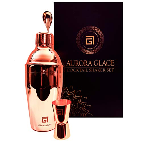 Aurora Glace Deluxe Rotgold Bartender Set - 24oz 304 Edelstahl Cocktail Shaker mit integriertem Sieb, Doppelmessbecher und Rührlöffel, perfekt für Zuhause Bar und Geschenkset
