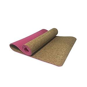 YJD Kork-Yoga-Matten, Yogamatte-Länge 1730 * Breite 610 * Stärke 6mm Pilates-Übungsmatte Eignung-Matte Doppelte Anti-Rutschmatte GHJ