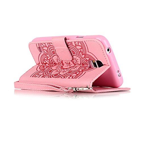 Apple iPhone 5/5S/SE Wallet Case - Felfy Luxe Bookstyle Quatre Feuilles Motif Flip-style Magnetic Closure PU Cuir Étui Portefeuille Housse Portefeuille Relief Coque Housse Swag Case pour Apple iPhone  Campanula Rose