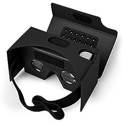 Google Cardboard Gafas de realidad virtual , color NEGRO, 3D, realidad virtual VR, Kit con almohadilla para la nariz y diadema,Amplia compatibilidad por Android e iOS