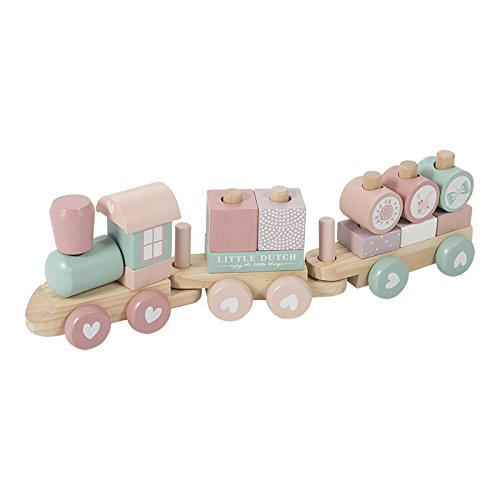 LITTLE DUTCH 4416 Holz-Eisenbahn mit Steck-Formen adventure pink